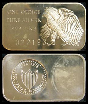 200 Years Of Independence' Art Bar by Madison Mint.