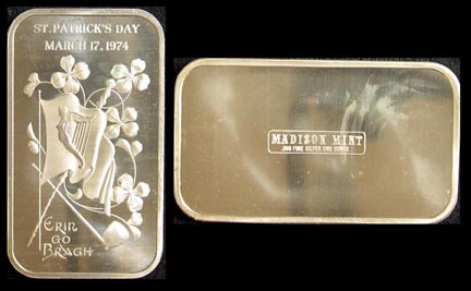 St. Patrick's Day 1974' Art Bar by Madison Mint.