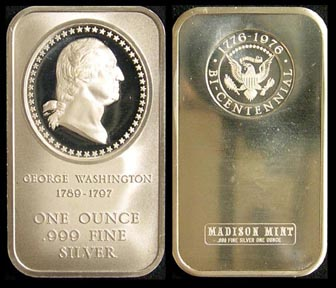 George Washington' Art Bar by Madison Mint.