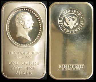 Chester Arthur' Art Bar by Madison Mint.
