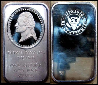 Thomas Jefferson' Art Bar by Madison Mint.