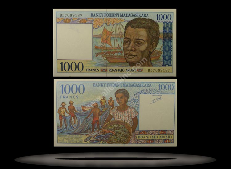 Madagascar Banknote, 1000 Francs, ND (1994), P#76 MAIN