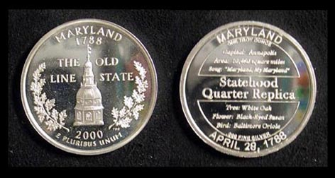 Maryland Quarter Replica' Art Bar. MAIN