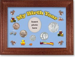 1936 My Birth Year Coin Gift Set with a blue background and cherry frame THUMBNAIL