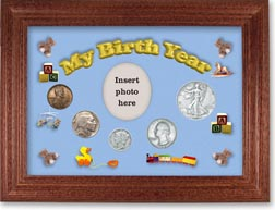 1937 My Birth Year Coin Gift Set with a blue background and cherry frame THUMBNAIL