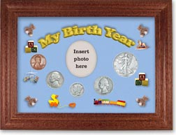 1938 My Birth Year Coin Gift Set with a blue background and cherry frame THUMBNAIL