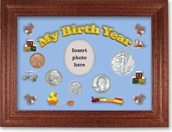 1939 My Birth Year Coin Gift Set with a blue background and cherry frame THUMBNAIL