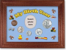1941 My Birth Year Coin Gift Set with a blue background and cherry frame THUMBNAIL