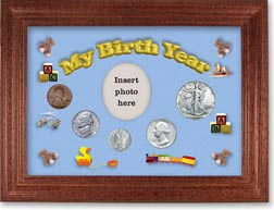 1942 My Birth Year Coin Gift Set with a blue background and cherry frame THUMBNAIL