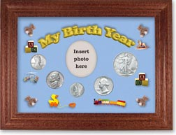 1943 My Birth Year Coin Gift Set with a blue background and cherry frame THUMBNAIL