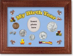 1944 My Birth Year Coin Gift Set with a blue background and cherry frame THUMBNAIL