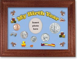 1947 My Birth Year Coin Gift Set with a blue background and cherry frame THUMBNAIL