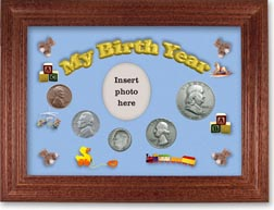 1949 My Birth Year Coin Gift Set with a blue background and cherry frame THUMBNAIL