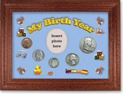 1950 My Birth Year Coin Gift Set with a blue background and cherry frame THUMBNAIL