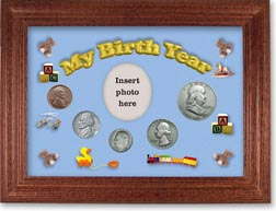 1953 My Birth Year Coin Gift Set with a blue background and cherry frame THUMBNAIL