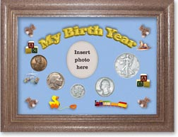 1937 My Birth Year Coin Gift Set with a blue background and dark oak frame THUMBNAIL