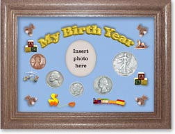 1938 My Birth Year Coin Gift Set with a blue background and dark oak frame THUMBNAIL