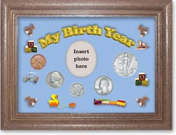 1939 My Birth Year Coin Gift Set with a blue background and dark oak frame THUMBNAIL