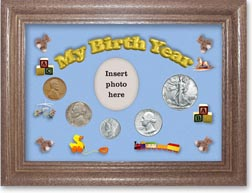 1940 My Birth Year Coin Gift Set with a blue background and dark oak frame THUMBNAIL