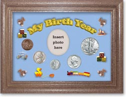 1941 My Birth Year Coin Gift Set with a blue background and dark oak frame THUMBNAIL