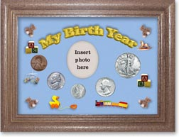1942 My Birth Year Coin Gift Set with a blue background and dark oak frame THUMBNAIL