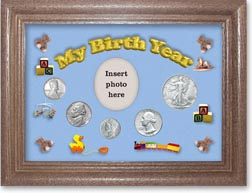 1943 My Birth Year Coin Gift Set with a blue background and dark oak frame THUMBNAIL