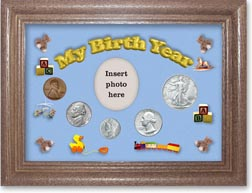 1944 My Birth Year Coin Gift Set with a blue background and dark oak frame THUMBNAIL