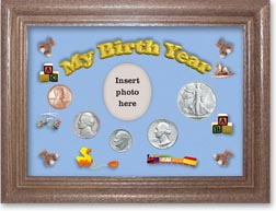 1946 My Birth Year Coin Gift Set with a blue background and dark oak frame THUMBNAIL