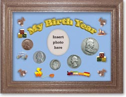 1950 My Birth Year Coin Gift Set with a blue background and dark oak frame THUMBNAIL