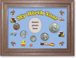 1953 My Birth Year Coin Gift Set with a blue background and dark oak frame THUMBNAIL