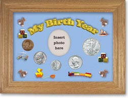 1944 My Birth Year Coin Gift Set with a blue background and wheat frame THUMBNAIL