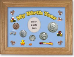 1954 My Birth Year Coin Gift Set with a blue background and wheat frame THUMBNAIL