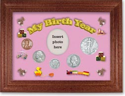 1938 My Birth Year Coin Gift Set with a pink background and cherry frame THUMBNAIL
