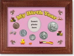 1950 My Birth Year Coin Gift Set with a pink background and cherry frame THUMBNAIL