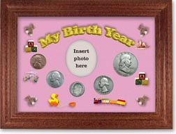 1951 My Birth Year Coin Gift Set with a pink background and cherry frame THUMBNAIL