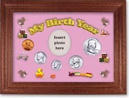1955 My Birth Year Coin Gift Set with a pink background and cherry frame THUMBNAIL