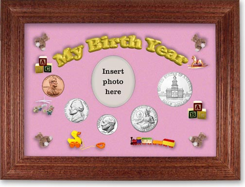 1975 My Birth Year Coin Gift Set with a pink background and cherry frame LARGE
