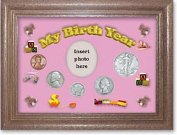 1938 My Birth Year Coin Gift Set with a pink background and dark oak frame THUMBNAIL