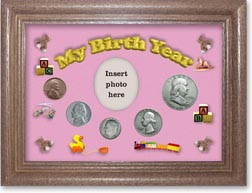 1950 My Birth Year Coin Gift Set with a pink background and dark oak frame THUMBNAIL