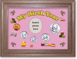 1955 My Birth Year Coin Gift Set with a pink background and dark oak frame THUMBNAIL