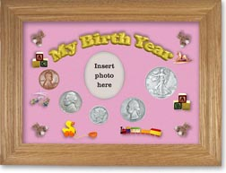 1938 My Birth Year Coin Gift Set with a pink background and wheat frame THUMBNAIL
