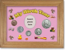 1950 My Birth Year Coin Gift Set with a pink background and wheat frame THUMBNAIL