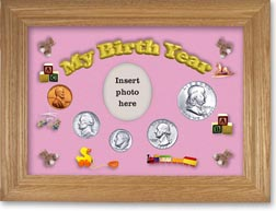 1955 My Birth Year Coin Gift Set with a pink background and wheat frame THUMBNAIL