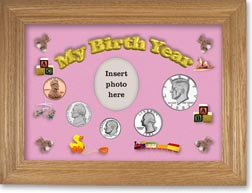 1982 My Birth Year Coin Gift Set with a pink background and wheat frame THUMBNAIL