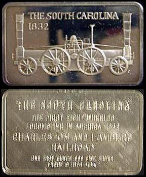 Locomotive - The South Carolina 1832' Art Bar by Mount Everest Mint. MAIN