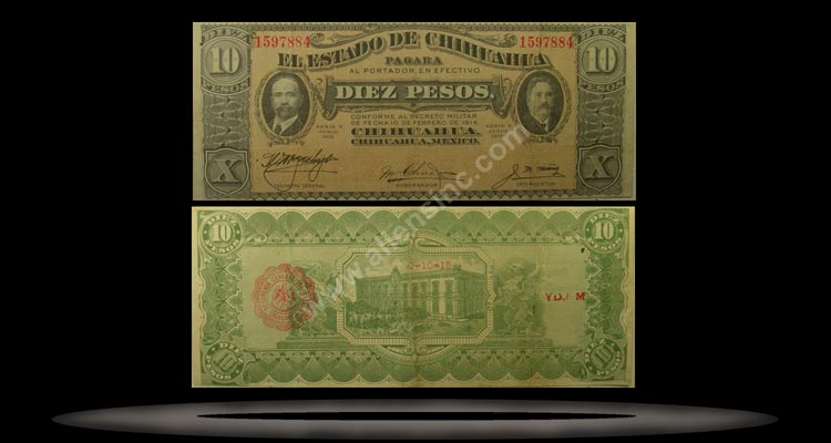 El Estado de Chihuahua (Revolutionary), Mexico Banknote, 10 Pesos, Jun 1915, P#535a