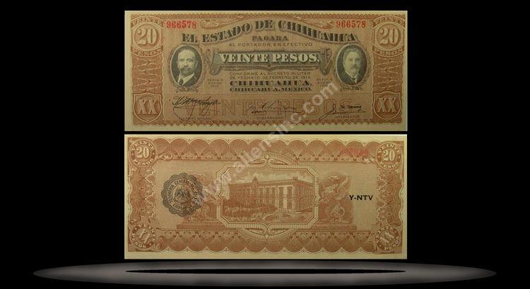 El Estado de Chihuahua (Revolutionary), Mexico Banknote, 20 Pesos, Jan 1915, P#537a