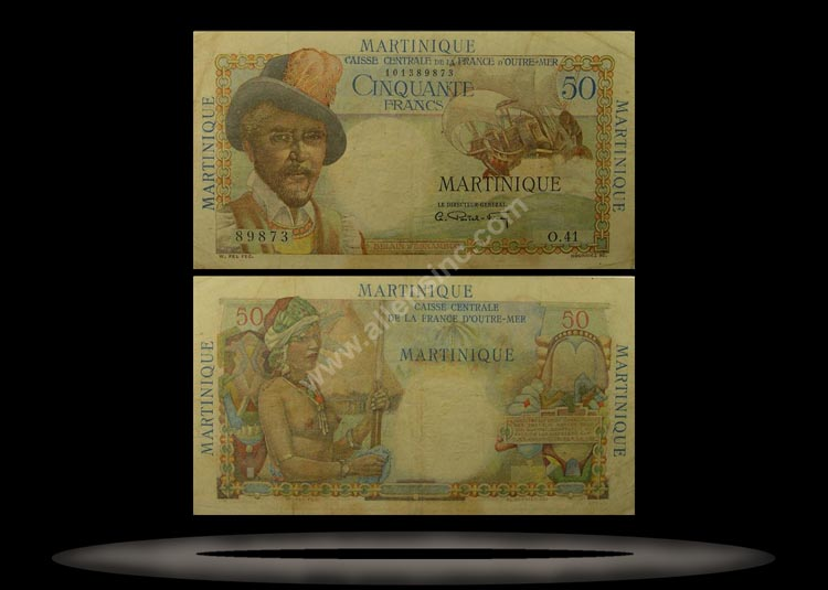 Martinique Banknote, 50 Francs, ND (1947-49), P#30