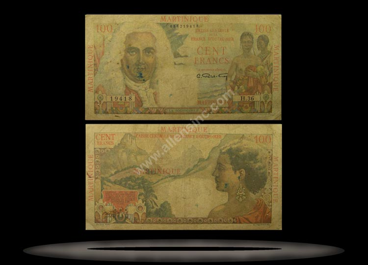 Martinique Banknote, 100 Francs, ND (1947-49), P#31