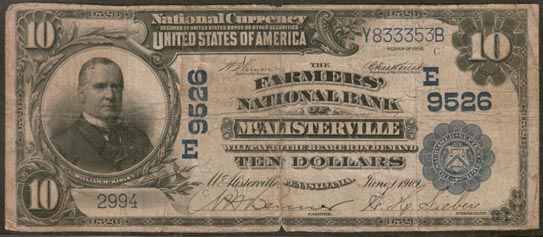Farmers National Bank of McAlisterville, Pennsylvania, Charter E9526